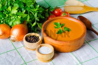 Tomato soup prepared in traditional italian style