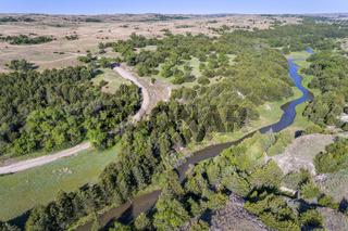 aerial view of Dismal River in Nebraska Sandhills