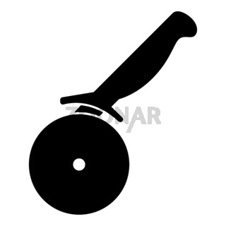 Pizza cutter ot pizza knife icon black color illustration flat style simple image