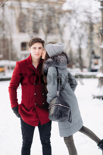 Young couple in love outdoor winter.