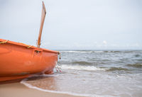 Orange lifeguard rescue boat