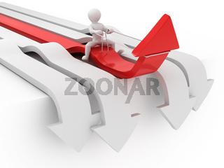 Men on arrow. Conceptual image of success. 3d