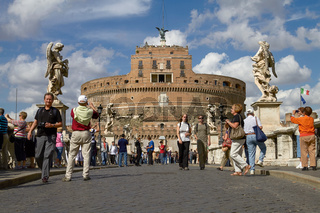 ROME, ITALY - SEPTEMBER 28, 2010: Tourists Enjoying the Visit of Castel Sant'Angelo in Rome Italy