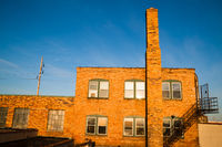 Abandoned Warehouse Sunrise Golden Color Brick Building