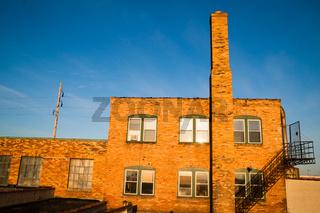 Abandoned Warehouse Sunrise Golden Color Brick Building