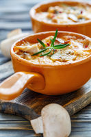 Baked chicken,mushrooms and cheese in creamy sauce.