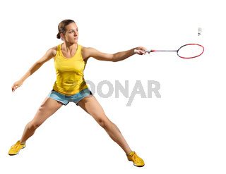 Young woman badminton player isolated