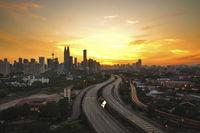 Kuala Lumpur city sunset view.