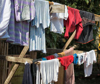 clothes drying on the wooden stick
