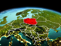 Poland on planet Earth in space