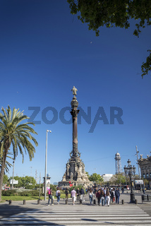 famous columbus monument landmark in central barcelona spain