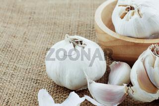 Garlic on a sack.