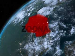 Tanzania on planet Earth in space at night