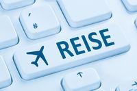 Reisen Reise Flug Flüge Urlaub online buchen Internet blau Computer Tastatur