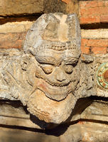 Stone face on wall in Bagan, Myanmar