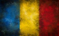 flagge von rumänien auf grunge hintergrund - illustration