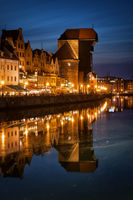 Old Town of Gdansk in Poland by night