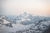 Sunset panorama of the elbrus and part of the Caucasian ridge