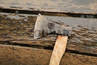 Axe on wet planks