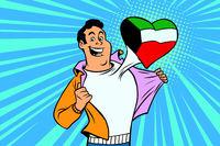 Kuwait patriot male sports fan flag heart