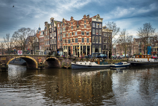 Amsterdam cityscape, traditional dutch houses and canals