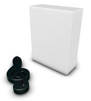 notenschlüsselsymbol und weiße kiste - 3d rendering