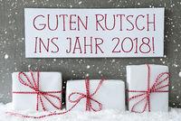 White Gift, Snowflakes, Guten Rutsch 2018 Means New Year