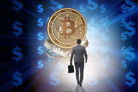Businessman falling into the trap of bitcoin cryptocurrency