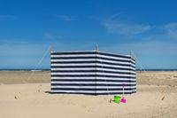Striped windbreak at the beach