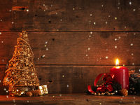 Romantic Christmas background with candle light