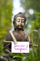 Buddha mit den Worten you are unique!