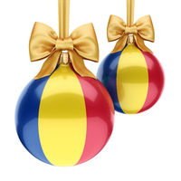 3D rendering Christmas ball with the flag of Romania