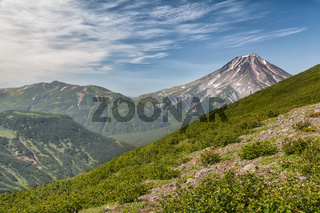 Mountains and volcanoes. Beautiful landscape of Kamchatka Penins