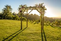 Jewish traditions wedding ceremony. Wedding canopy chuppah or huppah outside on the lawn