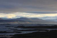 Early morning at the Breidafjoerdur, Iceland. Coastal landscape.