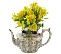 Silver Teapot with Bunch  of Yellow Flowers