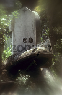 Friedhofskulptur - Alte Grabstätte mit Boot