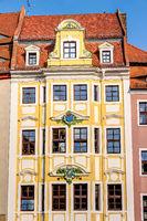 Historische Gebäude-Fassade in der Altstadt zu Bautzen