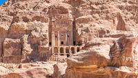 view of Royal Urn Tomb in ancient Petra city