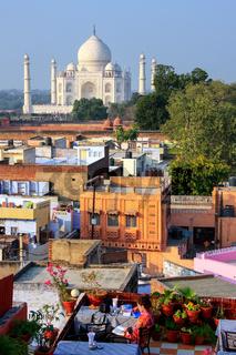 View of Taj Mahal from the rooftop restaurant in Taj Ganj neighborhood in Agra, India