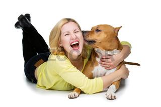 Girl with amstaff dog