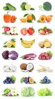Früchte Obst und Gemüse Apfel Tomaten Orange Zitrone Salat Farben Sammlung Freisteller freigestellt isoliert