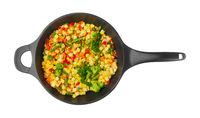Vegetables in pan on white