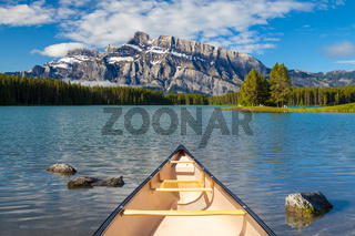 A canoe on the water at Two Jacks Lake in Banff National Park