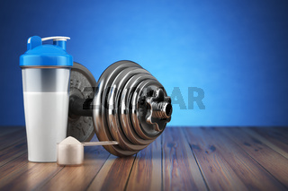Dumbbell and whey protein shaker. Sports bodybuilding supplements or nutrition. Fitness or healthy lifestyle concept.