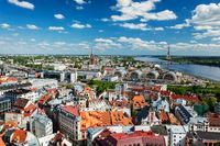 Aerial view of Riga center from St. Peter's Church, Riga, Latvia