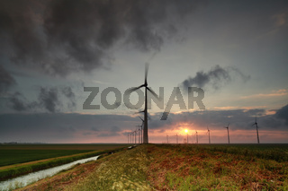 windmill turbines at sunset