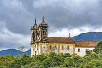 Ancient historical church high in mountains of the city of Ouro Preto