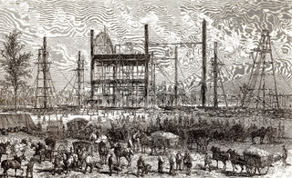 Construction site of the International Exposition of 1867, Paris, France, 1866