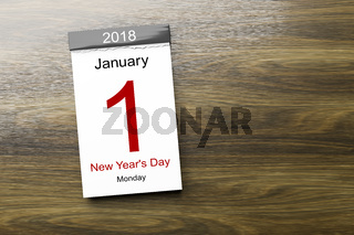 Calendar the 1st of January 2018 New Year's Day